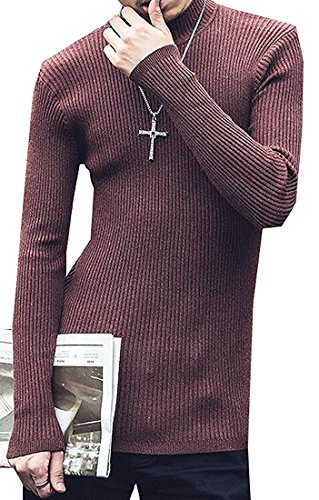 LOKOUO Fashion Mens Basic Long Sleeve Turtleneck Knit Pullover Sweater Wine RedUS 2XLarge by LOKOUO Pullover-sweaters