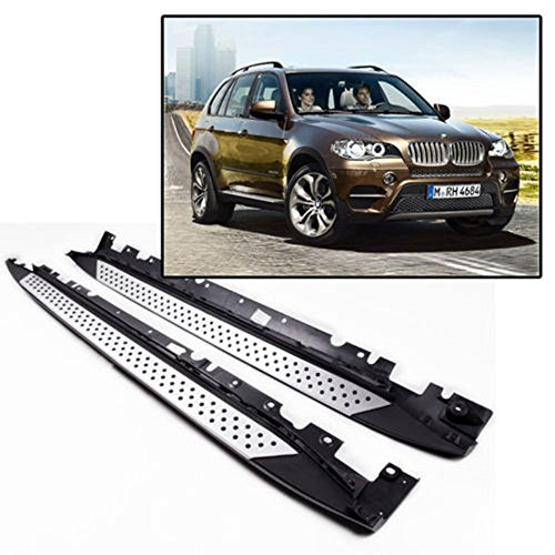 One Pair of Running Boards   Foot Side Steps for 2007-2013 BMW X5 (E70) - OE Style + Aircraft Grade Aluminum (Aluminum Polished Silver)