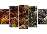 Designart Molten Gold Abstract Metal Wall Art - MT3022 - 60x32 - 5 Panels
