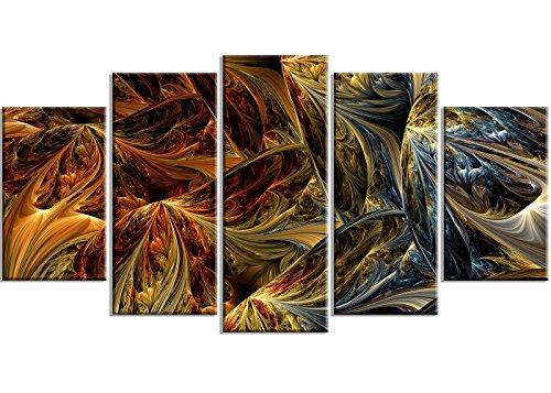 Designart Molten Gold Abstract Metal Wall Art - MT3022 - 60x32 - 5 Panels by Design Art