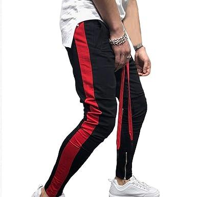 Hombres Moda Empalmado Pantalones Deportivos Zipper Pies ...