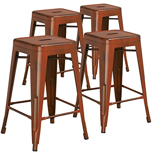 """Flash Furniture 4 Pk. 24"""" High Backless Distressed Orange Metal Indoor-Outdoor Counter Height Stool For Sale"""
