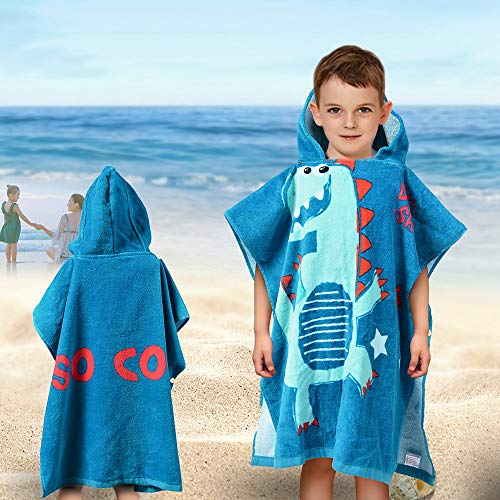 SearchI Hooded Beach Towels for Kids Toddlers Boys Girls 1 to 6 Years Old, Soft Absorbent Cotton Fast Drying Poncho Bath Towel for Swim Pool, Dinosaur 24 x 24 Inches -