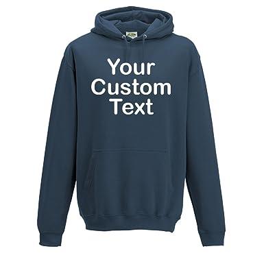 dd7f4cf3e Printed Custom Personalised Hooded Sweatshirts, Kids and Adults Custom  Hoodie Pullover 300 GSM Hoodie with Custom Text Print: Amazon.co.uk:  Clothing