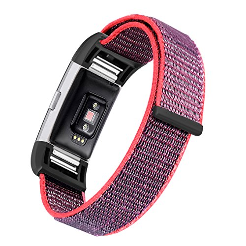 bayite Nylon Bands Compatible Fitbit Charge 2, Replacement Accessory Strap Wristbands Women Men Large Small, Color2 Small