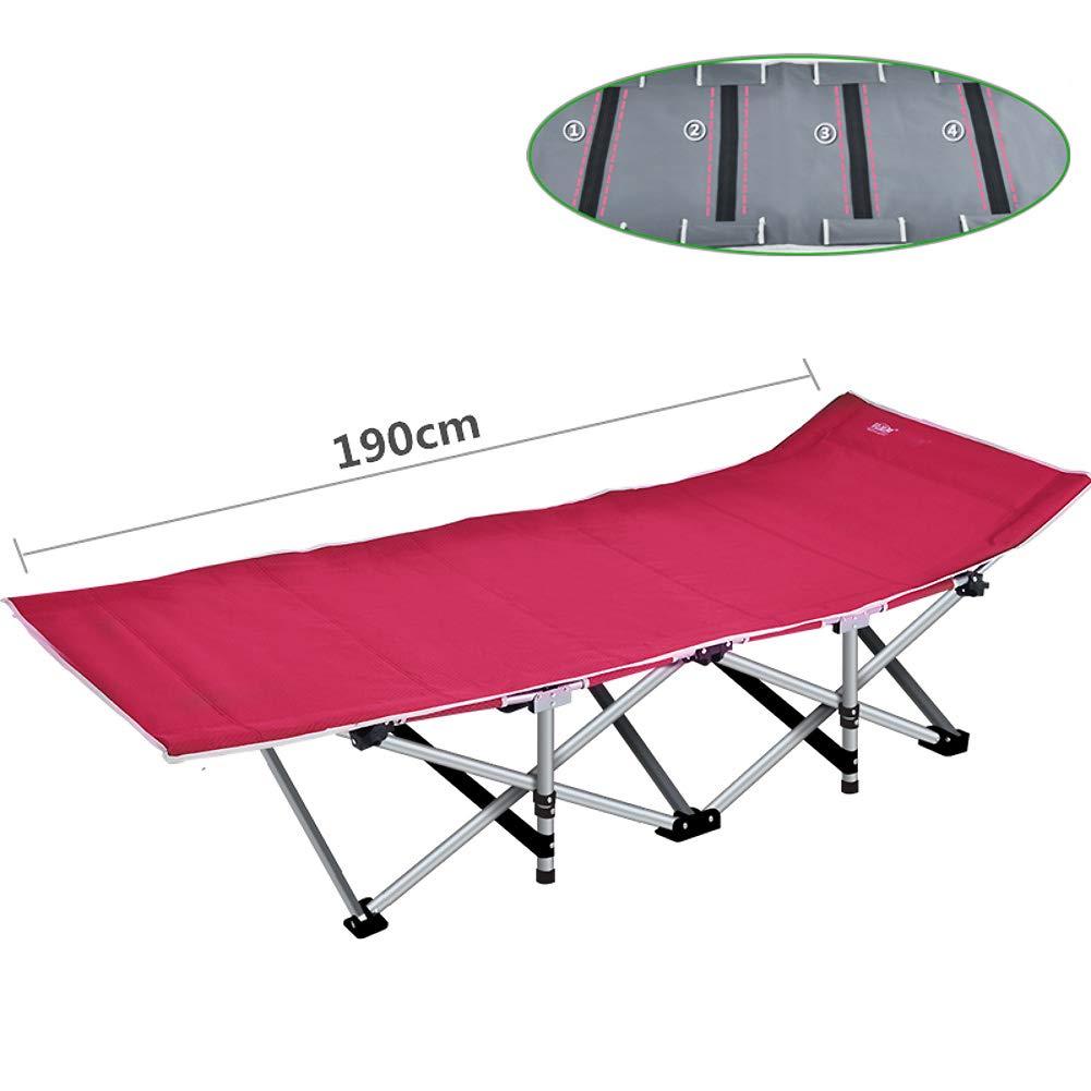 強化 安定 ラウンジチェア, パッド リクライニングチェア椅子 折りたたみ椅子ベッド 1200 D 生地 便利 シングルベッド 屋外 オフィス 庭  レッドA B07Q12FH1D
