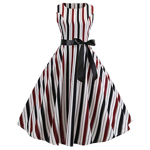 Hunzed Women【Striped Sleeveless Swing Skirt】Clearance Round Neck Tie Bow Skirt Retro Party Dress (XL, Wine)