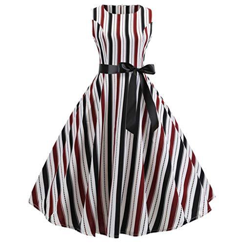 Hunzed Women【Striped Sleeveless Swing Skirt】Clearance Round Neck Tie Bow Skirt Retro Party Dress (XL, - Swing Necktie