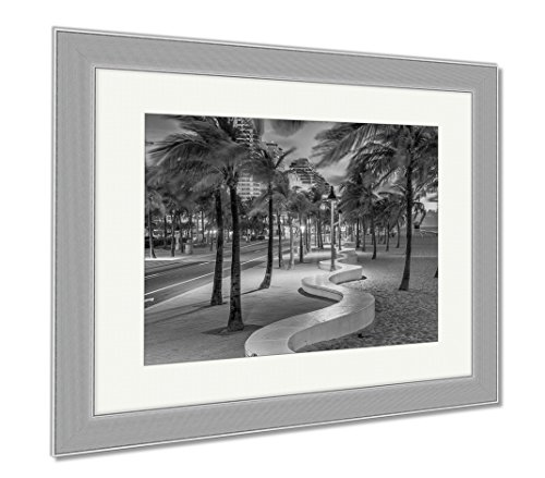 Ashley Framed Prints Ft Lauderdale Florida USA On The Beach Strip, Wall Art Home Decoration, Black/White, 30x35 (frame size), Silver Frame, - Las Fl Ft Olas Lauderdale