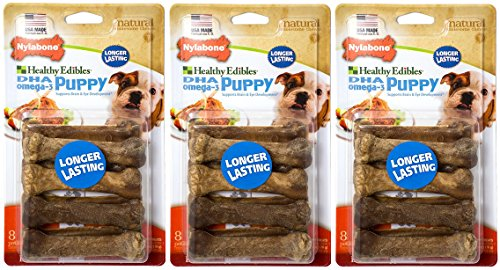((3 Pack) Healthy Edibles Dog Chew Petite Treat Bones for Puppies (8 ct. Per Pack - Lamb and Apple))