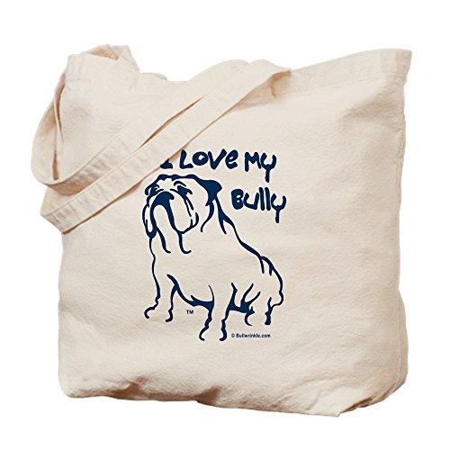 CafePress–I Love My Bully azul/natural–Gamuza de bolsa de lona bolsa, bolsa de la compra Small caqui