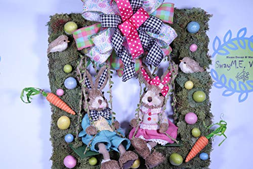 Square Moss Easter Wreath, Sisal Bunnies on a Swing, Spring Decor, Door Decor, Easter Egg Decorations, Polka Dot Ribbon, Bunny Wreath