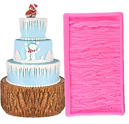 (Tree Bark Texture Cake Fondant Mold, Wood Bark Fondant Impression Mat, Cake Border Decorating, Chocolate Gumpaste Pastry Cake Mold)