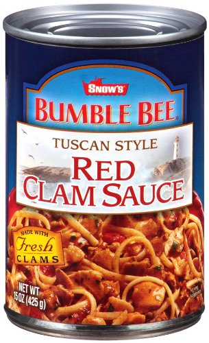SNOW'S BY BUMBLE BEE Tuscan Style Red Clam Sauce, Gluten Free Food, Canned Food, Delicious Sauce for Fettucine Pasta and Other Pasta Varieties, 15 Ounce Cans (Pack of 12)