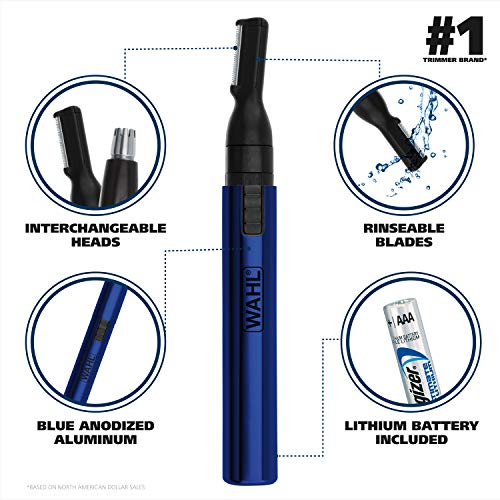 Wahl Model 5643-200 Lithium Two-In-One Pen Detail Trimmer for Nose, Ear, Neckline, Eyebrow, & Other Detailing - Blue - By the Brand Used By Professionals
