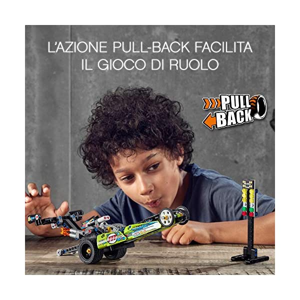 LEGO Technic - Dragster con Tecnologia PullBack, Set di Costruzioni per Bambini +7 Anni, 42103 3 spesavip
