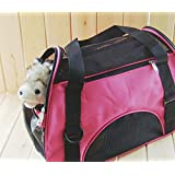 Icarekit Outdoor Soft Sided Breathable Oxford Pet Carrier Foldable for Dog Cat Puppy Comfort Airlin Approved Travel Bag Color Green/Rose Red/Blue