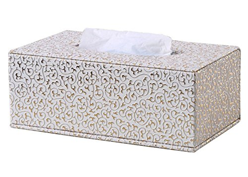 (KINGFOM Rectangular PU Leather Facial Tissue Box Table Decoration (Gold Decorative Pattern) )