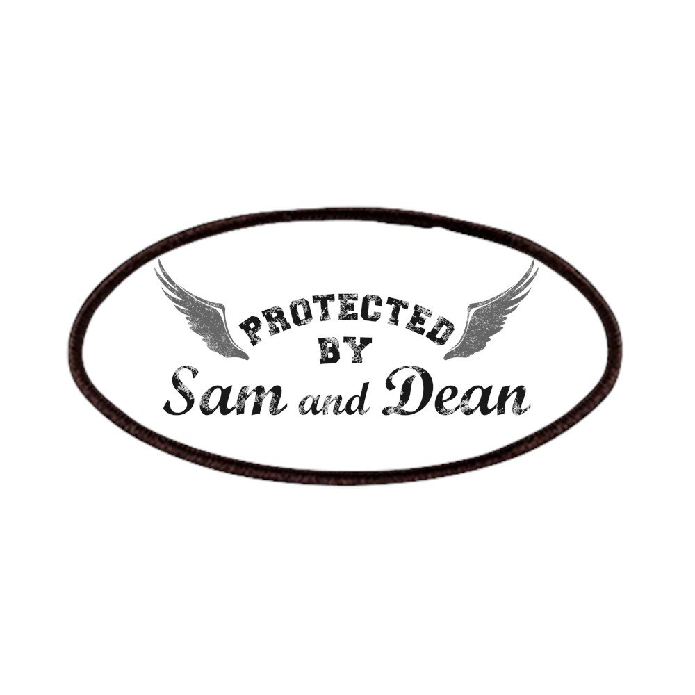 CafePress - SUPERNATURAL Sam And Dean Gray Patches - Patch, 4x2in Printed Novelty Applique Patch