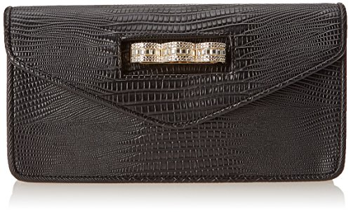 BCBG Clutch With Pave Knuckleduster Evening Bag, Black, One Size ()