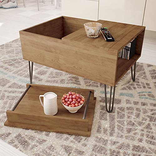Rustic Coffee Table with Removable Tray Black Metal Finish ...