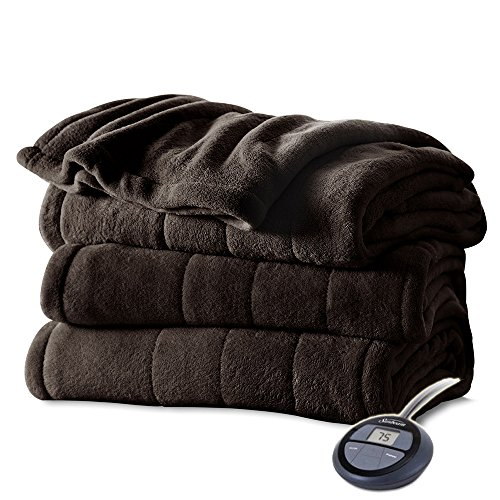 Sunbeam Channeled Microplush Heated Electric Blanket Full Walnut