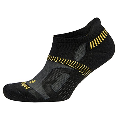 Balega Hidden Contour Socks For Men and Women (1-Pair), Black/Yellow, X-Large