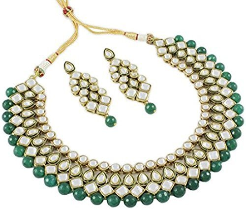 aheli Beautiful Indian Ethnic Traditional Kundan Necklace and Earrings Set Bollywood Festive Jewelry for Women Girls (Green) from aheli