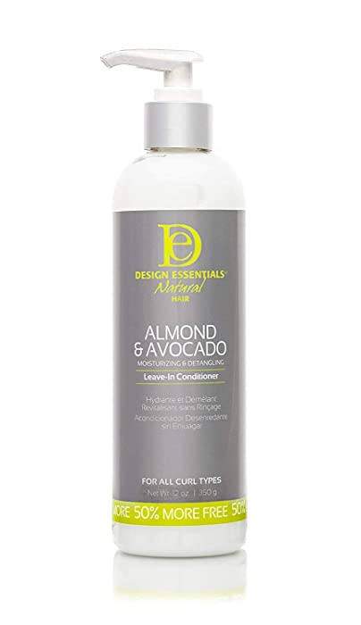 Design Essentials Instant Detangling Leave-In Conditioner For Healthy, Moisturized, Luminous Frizz-Free Hair-Almond & Avocado Collection, 12 Fl Oz