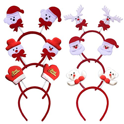 I2USHOP Pack of 6 Fun Xmas Head Boppers Christmas Headbands Adult Kids Decorations for Family Party