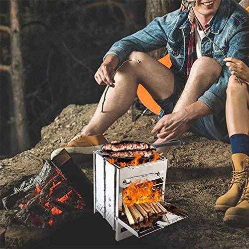 Pliant Acier Inoxydable Charbon De Bois Grill Portable en Plein Air Camping Grill Barbecue Grill Pique-Nique Barbecue Grillades ills Argent