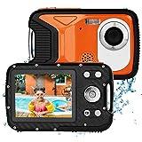 BYbrutek Digital Camera for Kids, 21MP FHD 1080P 5 Meter Waterproof Kids Underwater Camera, 2.8 Inch LCD, 8X Digital Zoom, Action Kids Camcorder with 1050MaH Rechargable Li-Ion Battery (Orange)