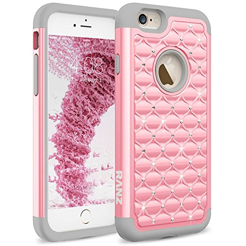 Basic Grey Bling - iPhone 6S Plus Case, RANZ Grey/Pink Diamond Studded Bling Crystal Rhinestone Dual Layer Hybrid Cover Silicone Rubber Skin Hard Case for Apple iPhone 6S Plus/iPhone 6 Plus (5.5-Inch)