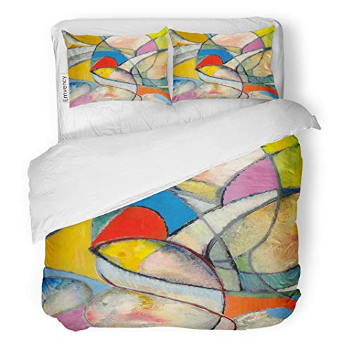 Semtomn Decor Duvet Cover Set King Size Colorful Contemporary Abstract Painting Blue Modern Egg Arty Lines 3 Piece Brushed Microfiber Fabric Print Bedding Set Cover