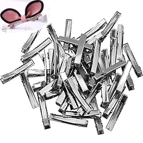 (TANG SONG 150PCS 1.8'' Length Silver Tone Barrette Blank Hair Clips Flat Top with Teeth DIY Crafts Arts Projects Hairbow Accessory)