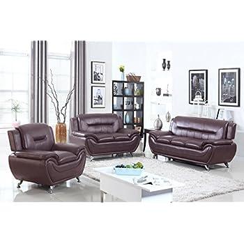 U.S. Livings Anya Modern Living Room Polyurethane Leather Sofa, Loveseat,  And Chair Set (