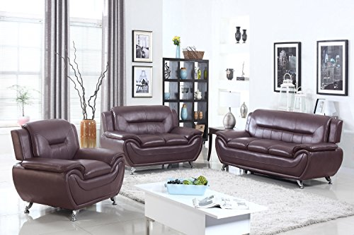 U.S. Livings Anya Modern Living Room Polyurethane Leather Sofa, Loveseat, and Chair Set (3-Piece, Dark (Cherry Leather Loveseat)
