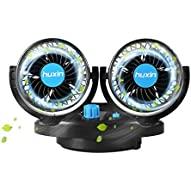12V DC Electric Car Fans - 4Inch 360øAuto Rotatable 2 Speed Dual Blade with 6FT Cord - Quiet Strong Dashboard Cooling Fan for Sedan SUV RV Boat Auto Vehicles