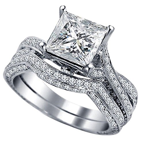 Jude Jewelers Princess Cut Engagement Wedding Bridal Halo Ring Set Proposal Anniversary Statement Promise (Silver Clear, 6)