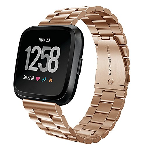 8.5' Stainless Steel Bracelet (Fitbit Versa Bands, Kmasic Stainless Steel Metal Replacement Bracelet Starp Band for Fitbit Versa Sports Smart Watch Fitness, Rose Gold)