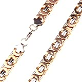 11mm (Silver Rose Gold) Tone Byzantine Necklace Biker Men's Stainless Steel Jewelry 16-40""
