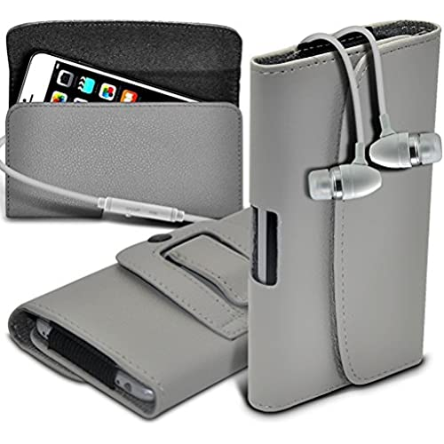 ONX3 (Grey) Samsung Galaxy S8 Case Premium Horizontal Faux Leather Belt Holster Pouch Cover Case, Includes Stereo Aluminium Earphones Sales