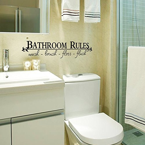 "MZY LLC 5""*23"" BATHROOM RULES Wash Brush Floss Flush Quote Saying Wall Sticker Home Decal Decor For Bathroom (BLACK, 1) Black, 23inches"