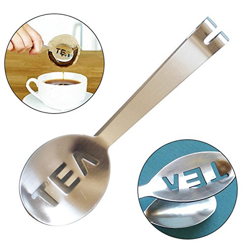 Rurah Stainless Steel Teabag Tongs Tea Bag Squeezer Herb Grip Holder for Home Kitchen Teabag Tongs Clip Tool ()
