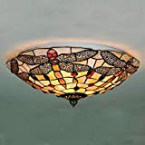 Tiffany Style Ceiling Light Stained Glass Hanging Lamp Dragonfly Semi Flush Ceiling Fixture 15.7 Inches Lampshade
