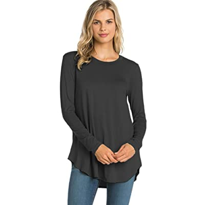 12 Ami Plain Solid Basic Long Sleeve T-Shirt Top (S-XXXL) - Made in USA at Amazon Women's Clothing store
