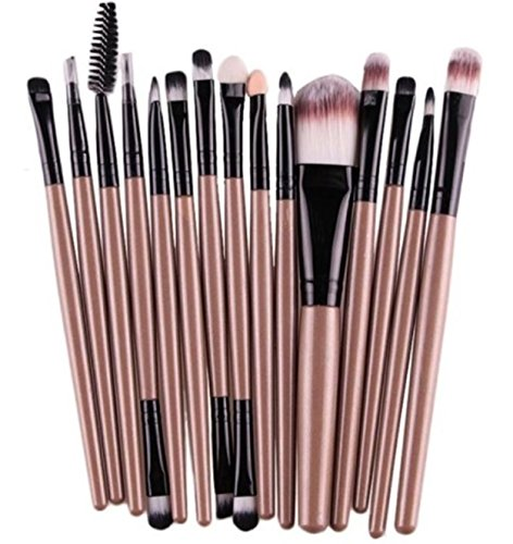 15 Piece Makeup Brushes Set Eyeshadow Make Up Tools Professional Natural Beauty Palette Vanity Alluring Popular Eyes Faced Colorful Rainbow Hair Highlights Glitter Kids Travel Kit, -