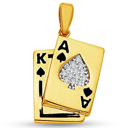 14K Yellow Gold Spade A Ace & K King Poker Blackjack Card Pendant Charm with CZ Cubic Zirconia Accents (15x13 mm)