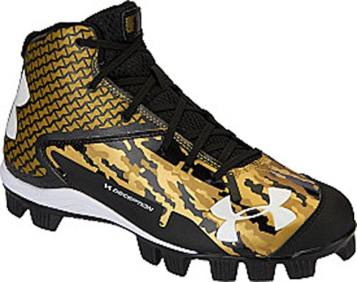 Under Armour Boys' UA Deception Mid RM Jr. Baseball Cleats, Navy/Gold (1.5Y)