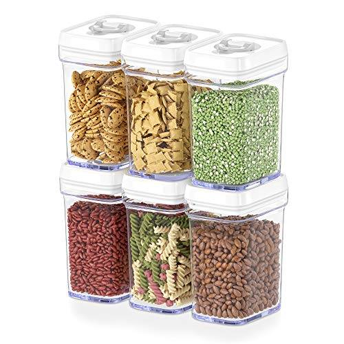 DWLLZA KITCHEN Airtight Food Storage Containers with Lids  6 Piece Set/All Same Size - Medium Air Tight Snacks Pantry & Kitchen Container - Clear Plastic BPA-Free - Keeps Food Fresh & Dry